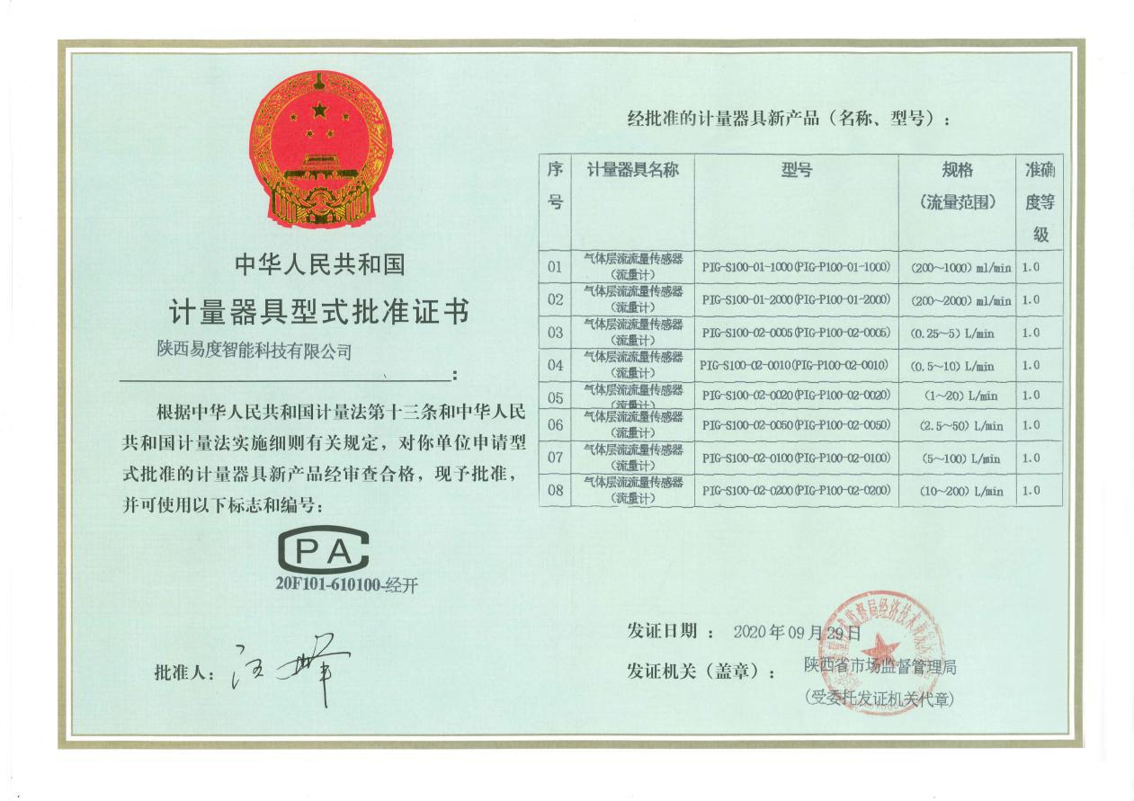 """小优视频app官网气体层流质量传感器(流量计)再次荣获""""CPA认证证书"""""""