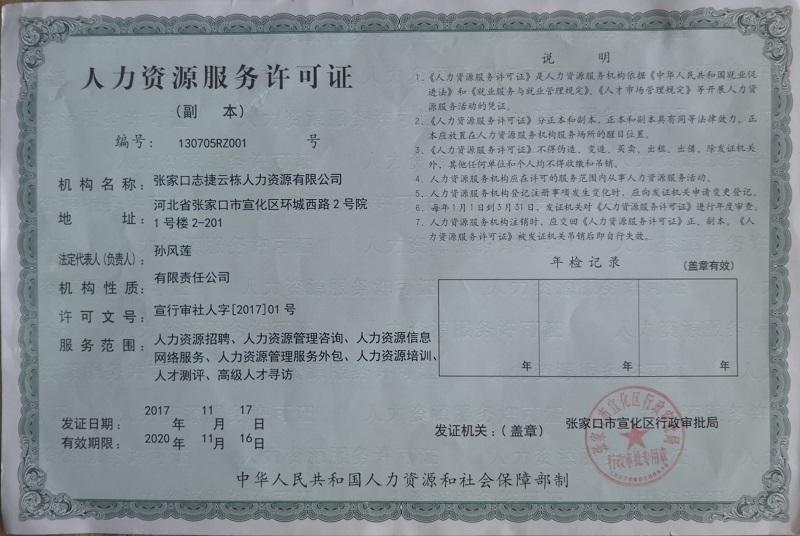 人力资源服务许可证