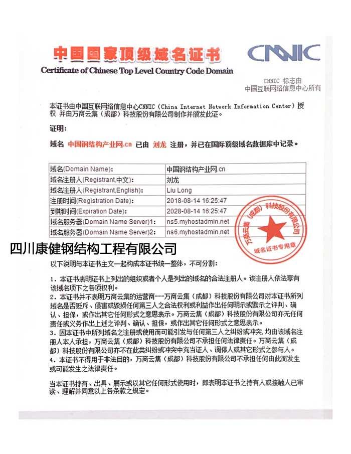 中国国家**域名证书