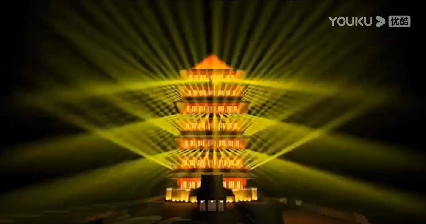 中式建筑激光亮化效果展示