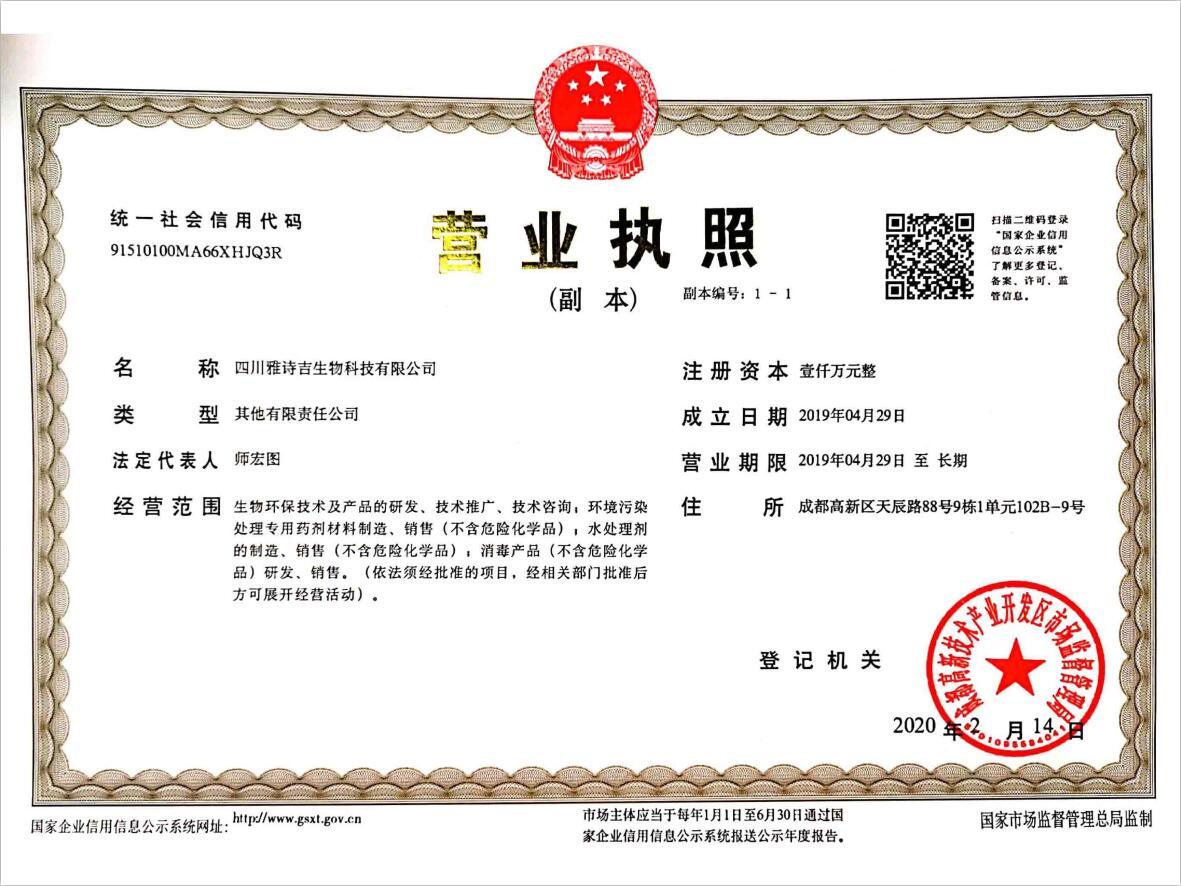 雅诗吉营业执照(新)