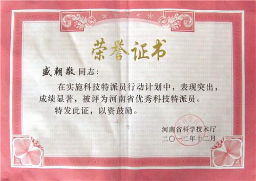 盛朝敬荣誉证书