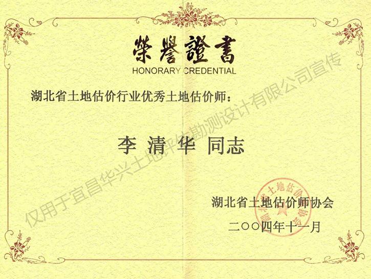 优秀土地估价师荣誉证书