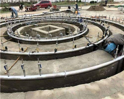 广场喷泉施工现场