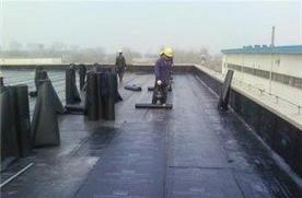 老五中的楼顶防水作业