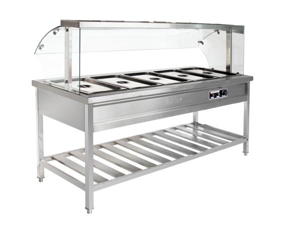 四川厨房设备-带玻璃罩保温售饭台