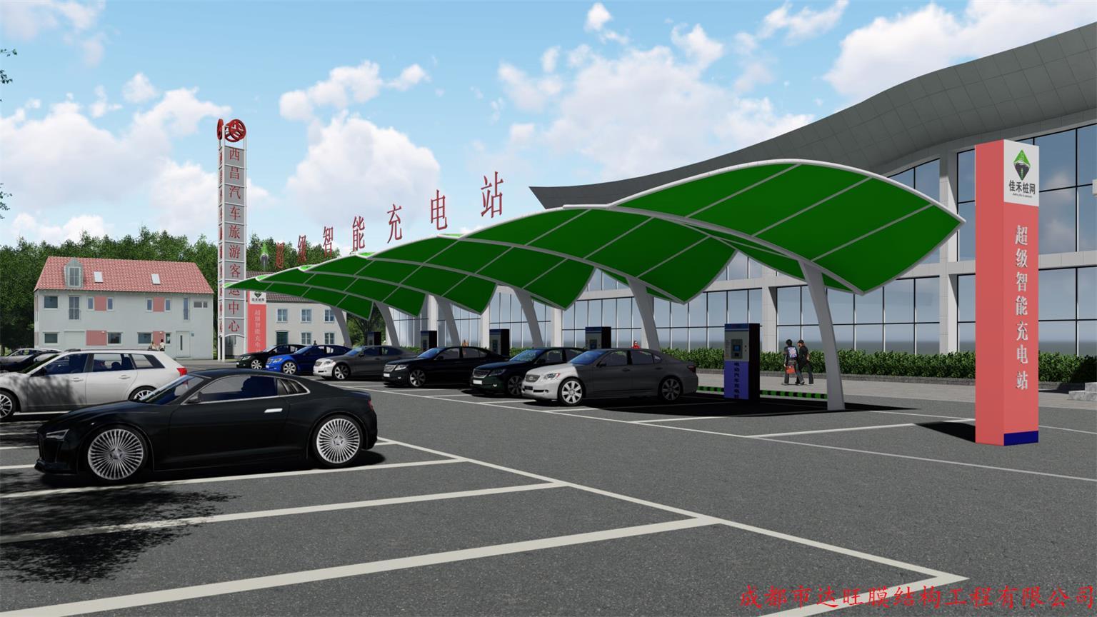 四川膜结构遮阳蓬-充电桩车棚