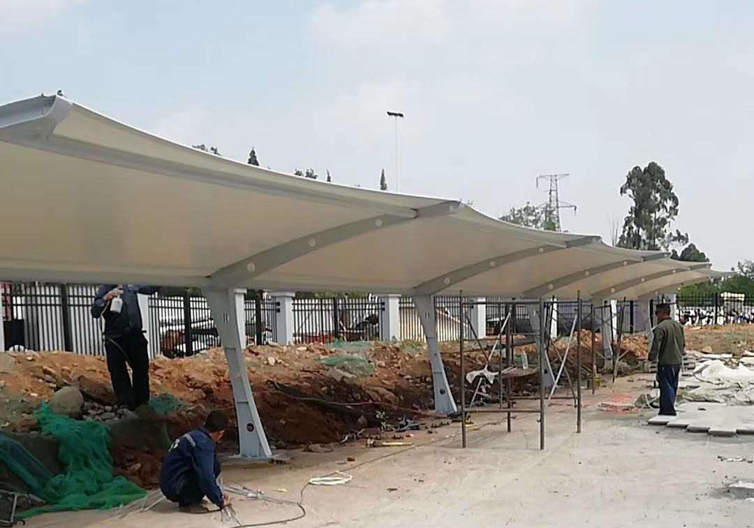 四川膜结构停车棚七字型膜结构车棚--彭州市环保发电厂