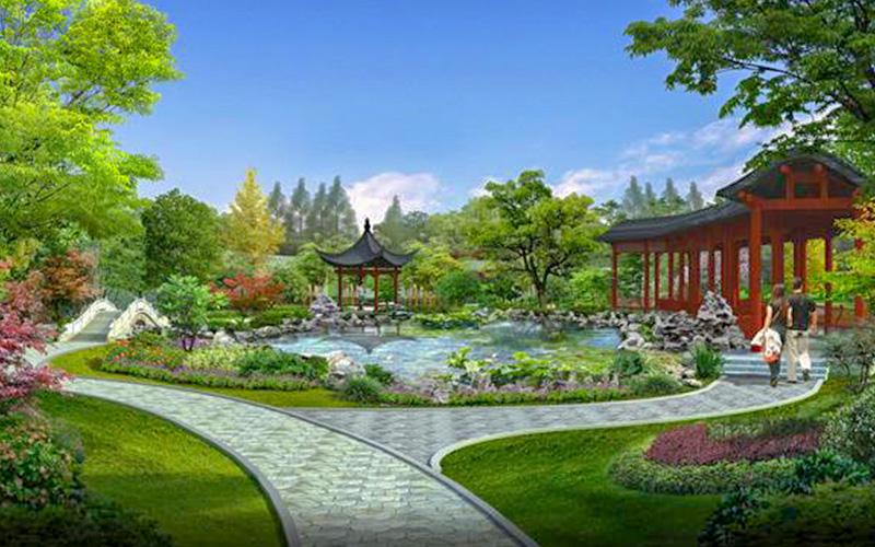 园林景观工程中不可或缺的人造山、河流和绿色植物