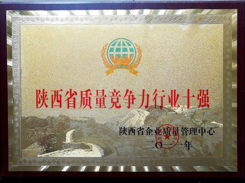 陕西省质量竞争力行业十强