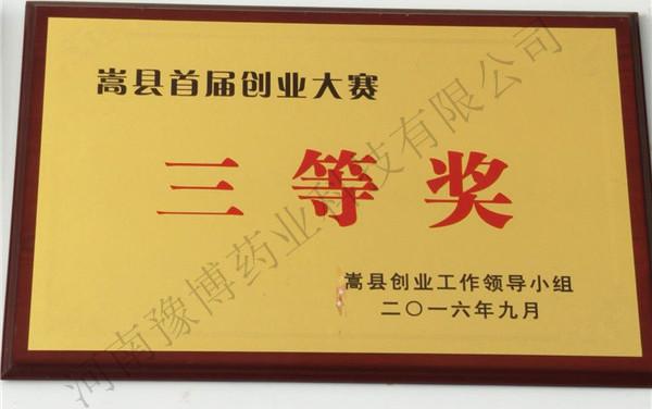 嵩县首届创业大赛三等奖