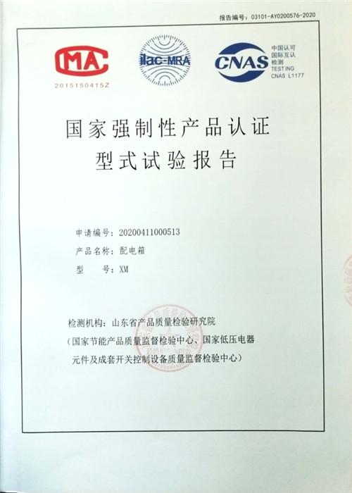飞天电气配电箱-国家强制性产品认证型式试验报告