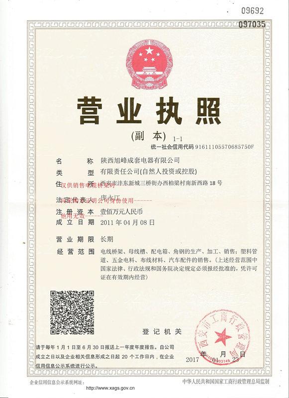 旭峰成套电器营业执照!