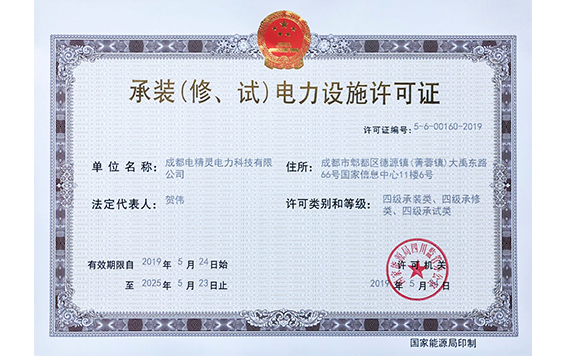 License for installation (repair and test) of electric power facilities