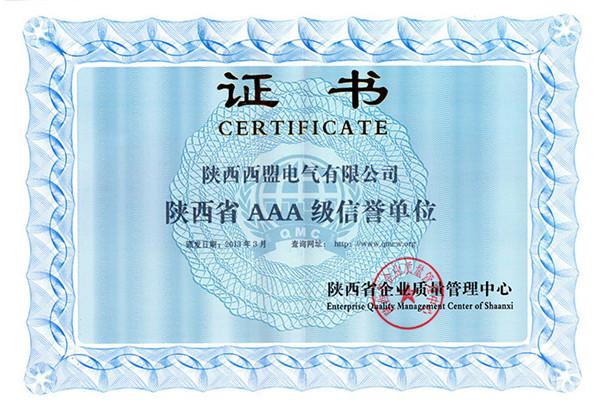 陕西信誉单位证书