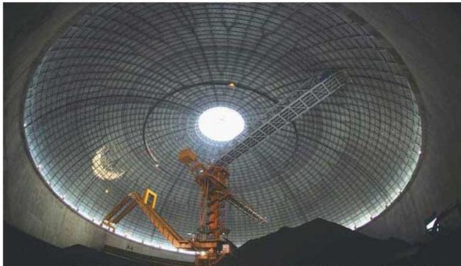 安全的鄂尔多斯煤棚,用三心圆网壳结构建模