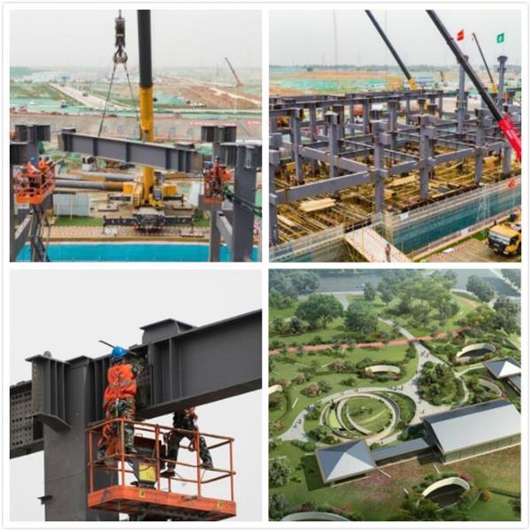 雄安新区剧村220千伏变电站主体钢结构吊装全部完成