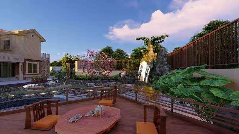 某别墅庭院设计建造与旭诚建材合作案例展示