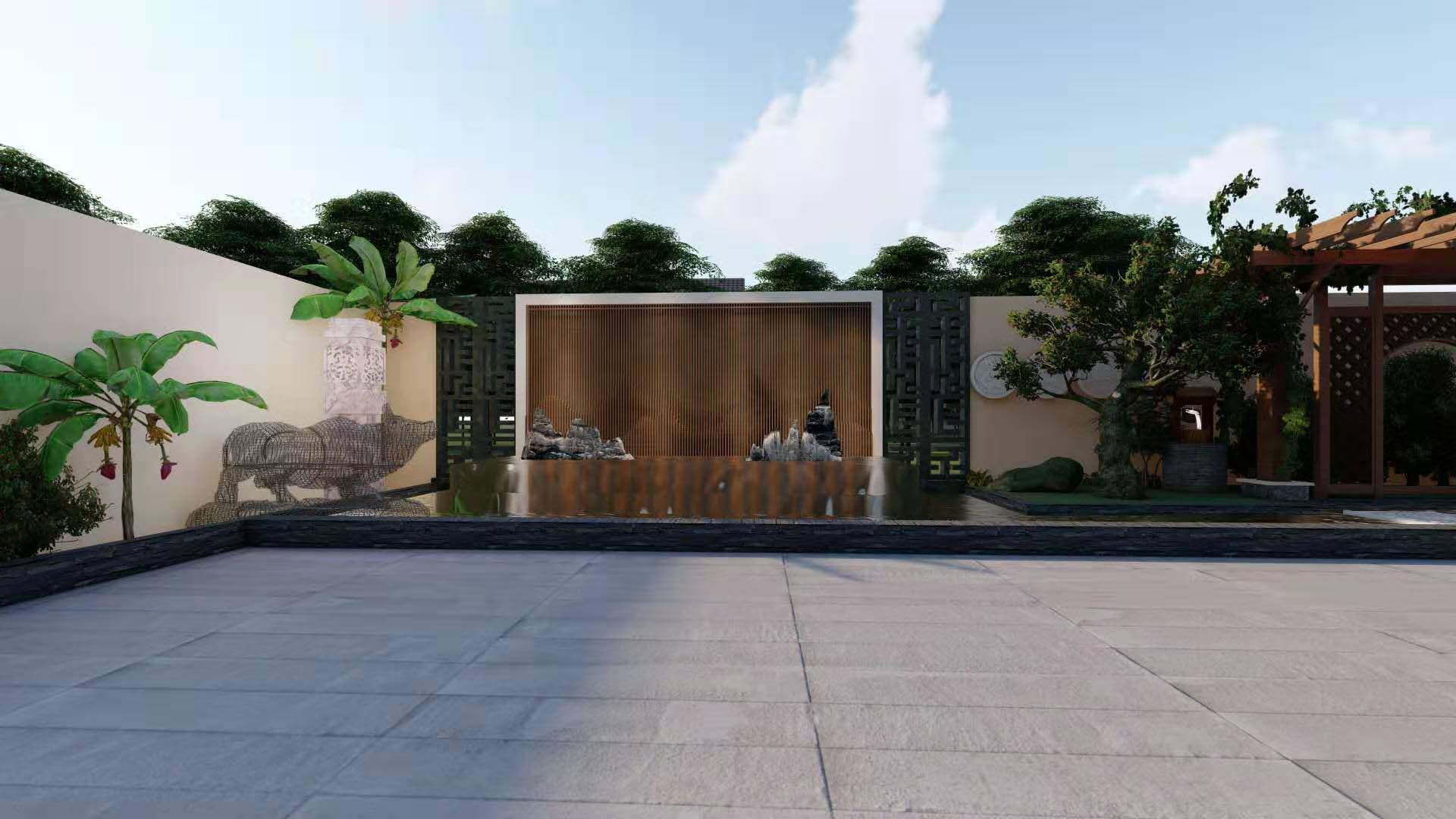 某会所进行庭院建造与旭诚建材合作案例展示