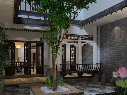 河南别墅庭院中式风格