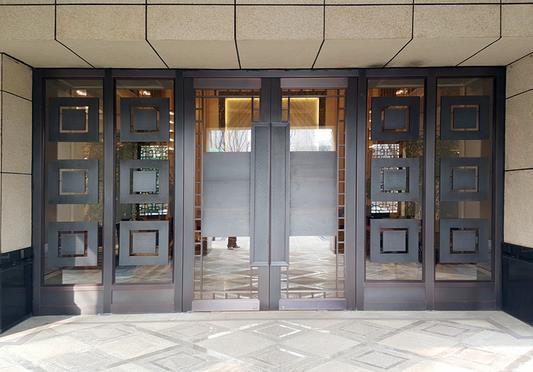 古典玻璃铜门