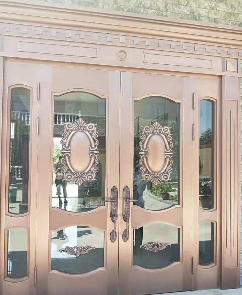 浮雕玻璃铜门