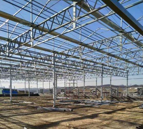 河南玻璃温室在宝丰康龙工地施工案例