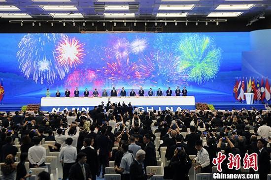 9月21日,第十六届中国—东盟博览会和中国—东盟商务与投资峰会在广西南宁开幕。图为开幕大会现场。 <a target='_blank' href='http://www.chinanews.com/'>中新社</a>记者 俞靖 摄