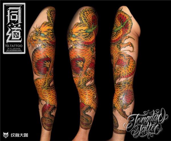 花腿纹身作品