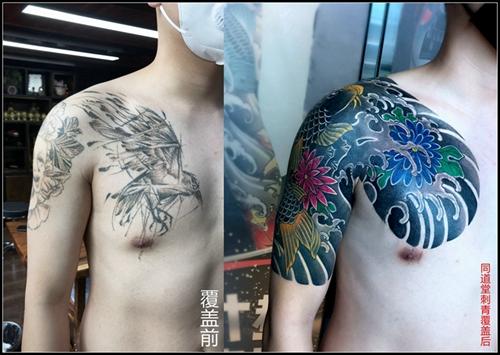 半钾遮盖。鲤鱼半钾纹身