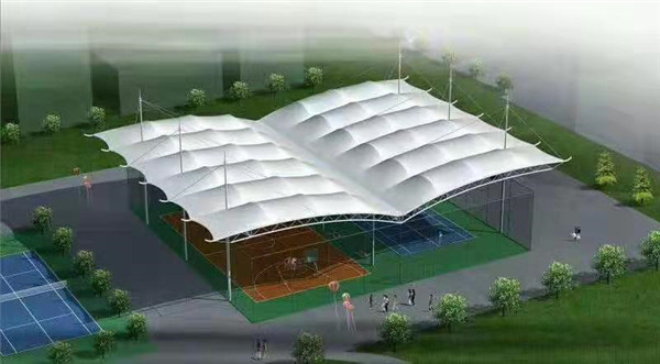 篮球场顶棚膜结构安装