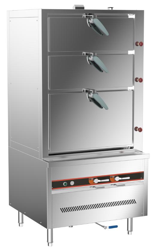 成都不锈钢厨房设备-环保燃气三门海鲜蒸柜900x850x1850