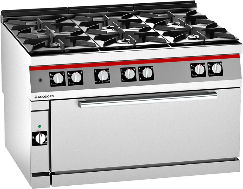 成都酒店厨房设备-六头平头炉连下焗炉