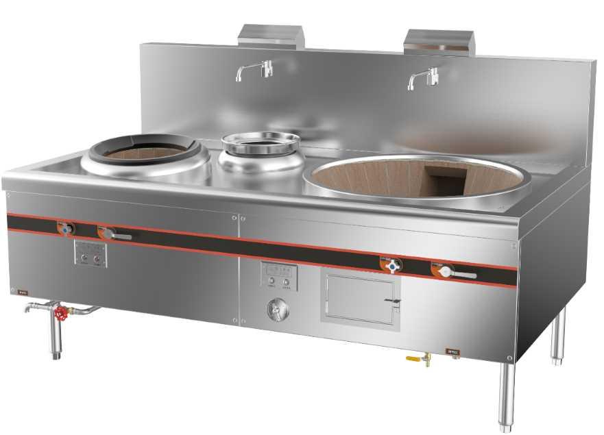 成都不锈钢厨房设备-环保燃气一大锅一小炒灶2000x1150x800+410