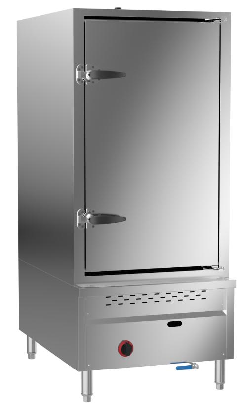 成都不锈钢厨房设备-节能燃气单门12盘蒸柜584x910x1800