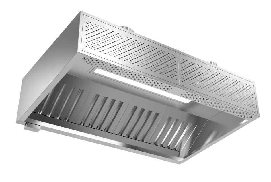 成都不锈钢厨具-油网烟罩连新风Lx1400x550