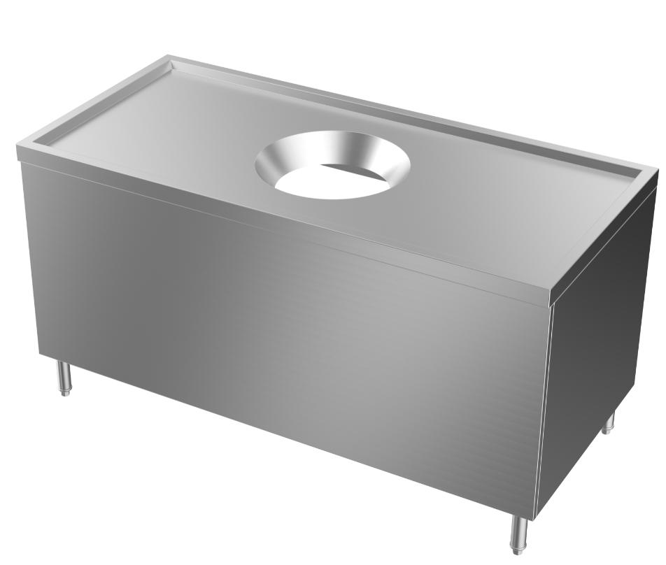 成都不锈钢厨具-收残台连封板1500x700x800中间400+300