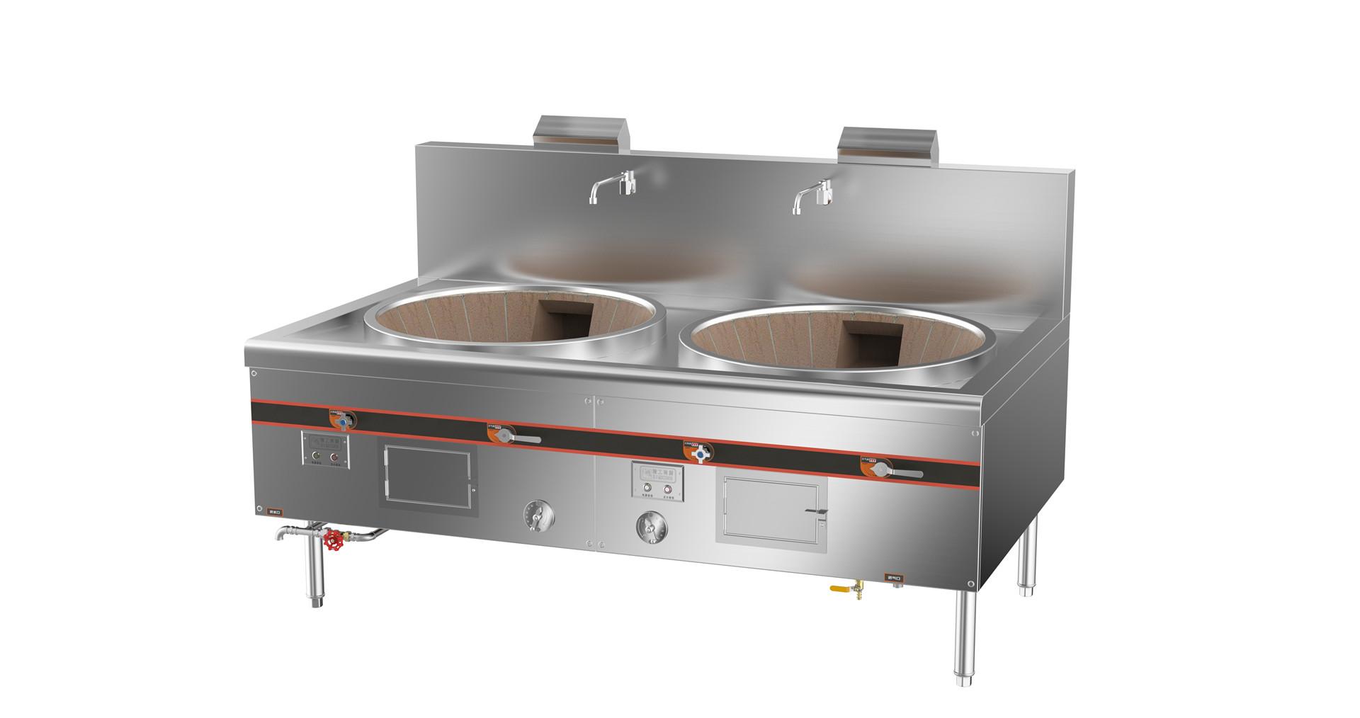 成都不锈钢厨房设备-环保双头燃气大锅灶2000x1150x800+410