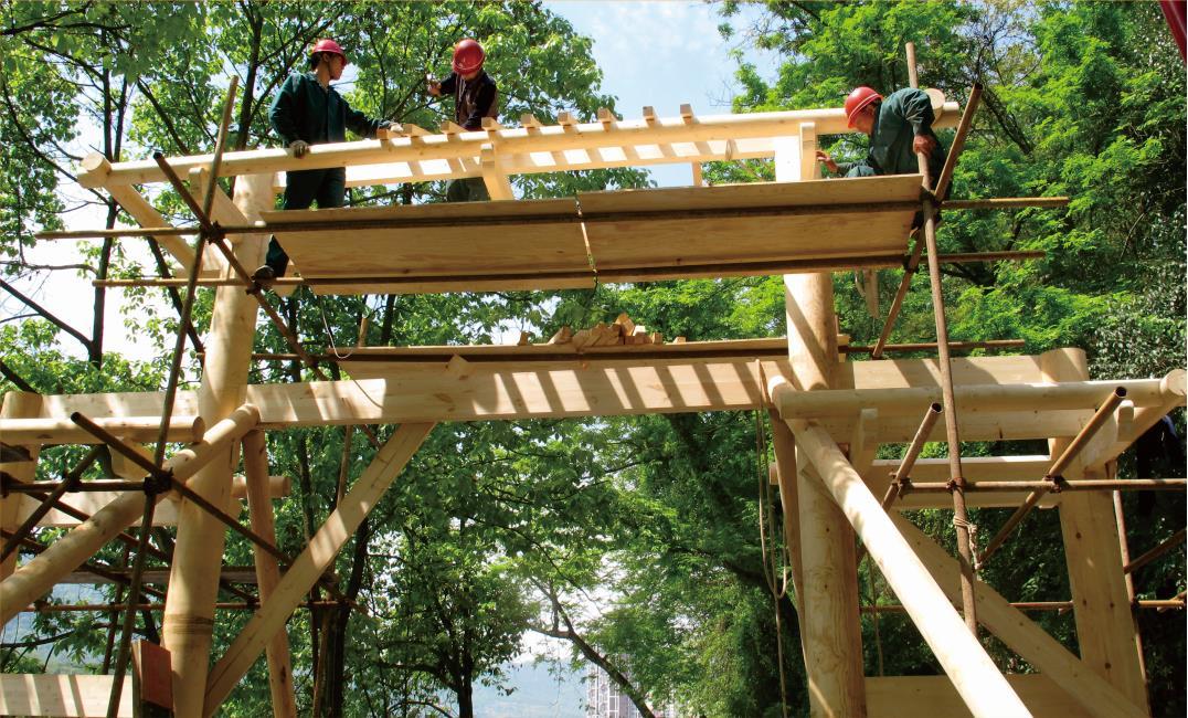 木屋建造施工现场