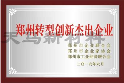 郑州转型创新杰出企业证书