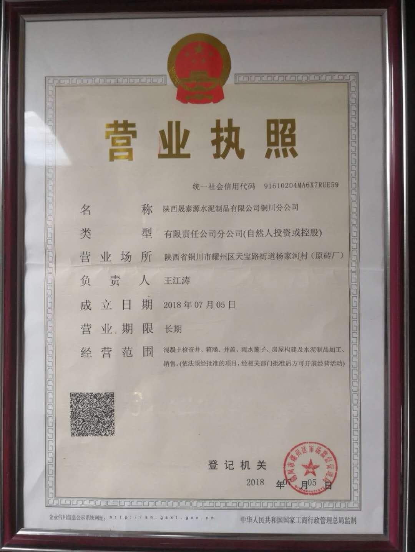 陕西晟泰源铜川分公司营业执照