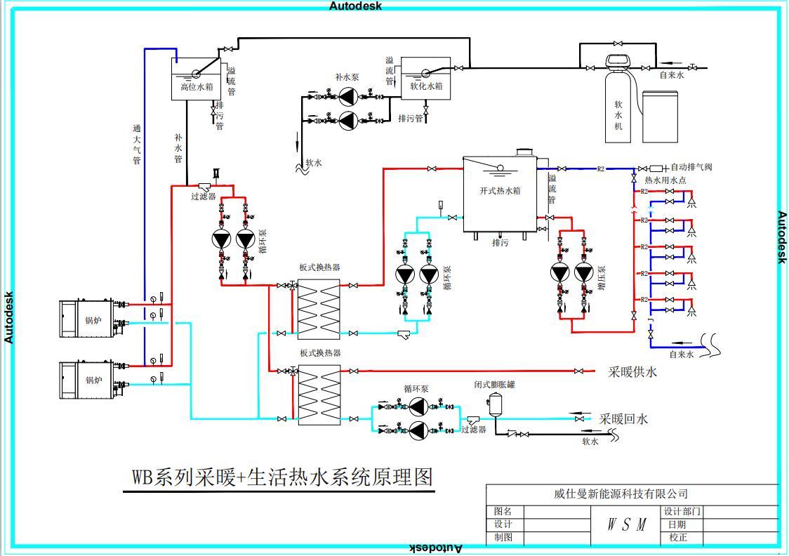 WB系列采暖 生活热水系统原理图