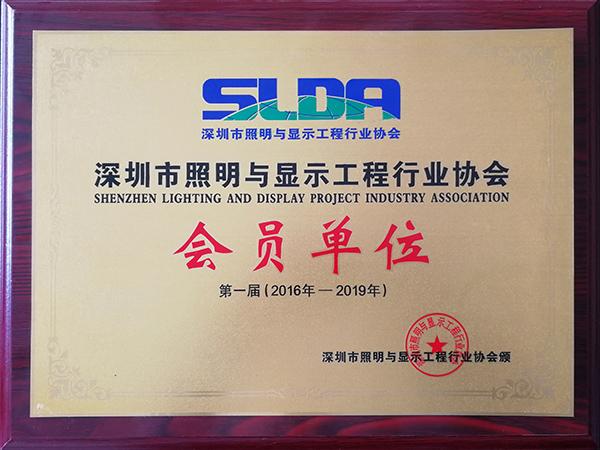 深证市照明与显示工程行业协会会员证书