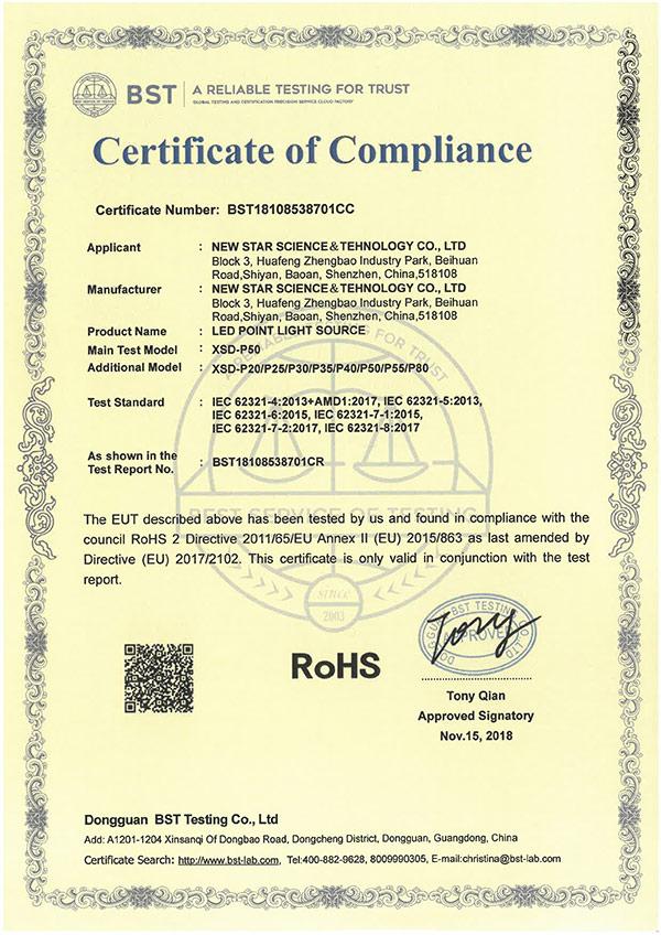 点光源Rohs专 利证书