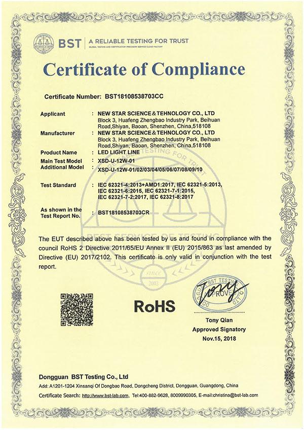 线条灯ROHS专 利证书
