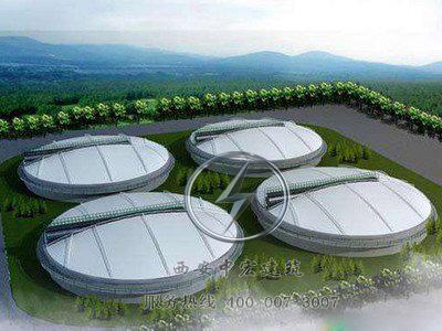 厂家直销膜结构污水池遮阳棚加盖顶棚定制大型沼气池覆盖膜