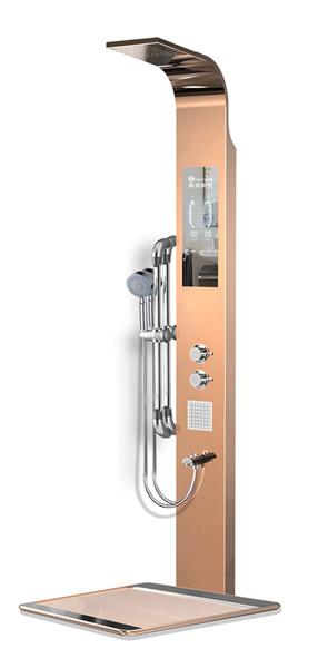 河南集成式沐浴屏-弯款淋浴屏D3玫瑰金