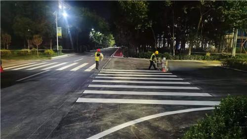 泾阳县王桥冀东水泥厂热熔标线与彩色防滑施工