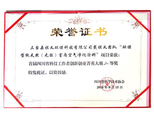 四川省科技工作者创新创业菁英大赛获奖证书