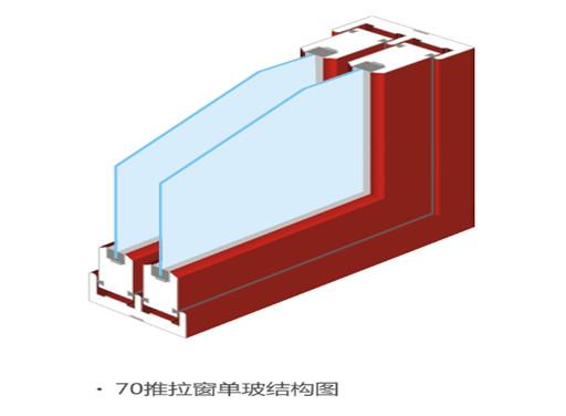 70推拉窗单玻结构图